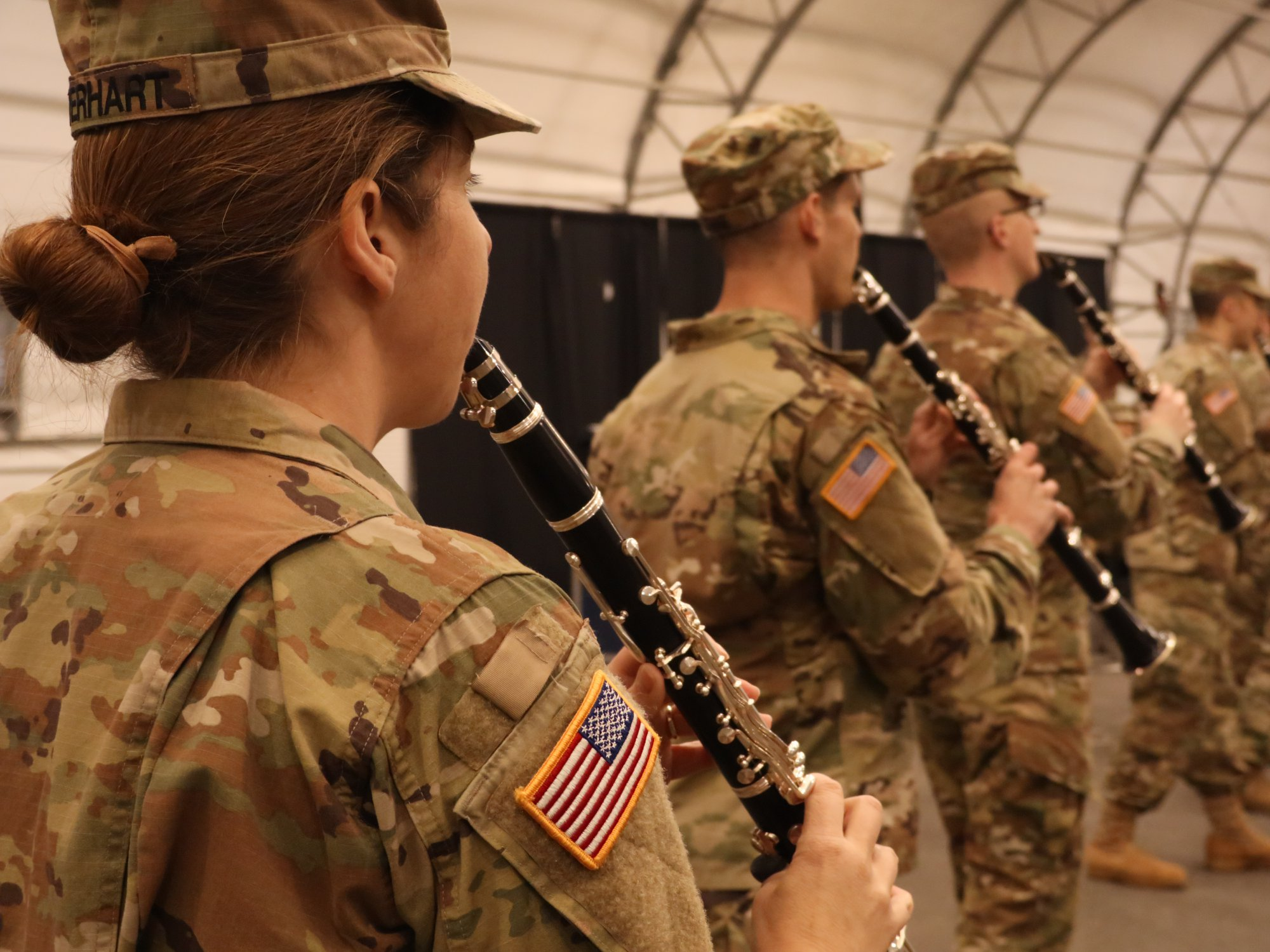 military students playing instruments