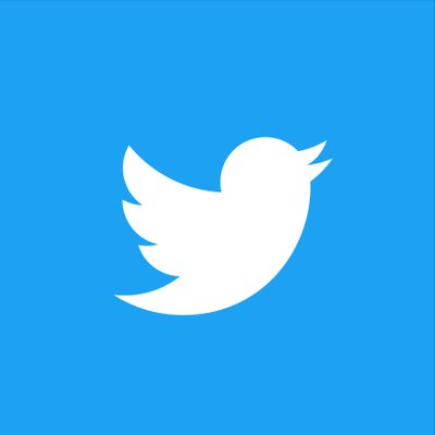 Twitter logo with a white bird on a blue background.