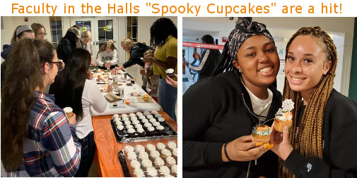 Students making Spooky Cupcakes