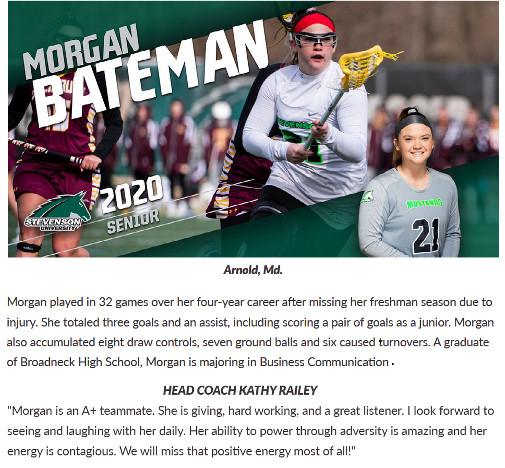 Morgan Bateman honored by lacrosse team