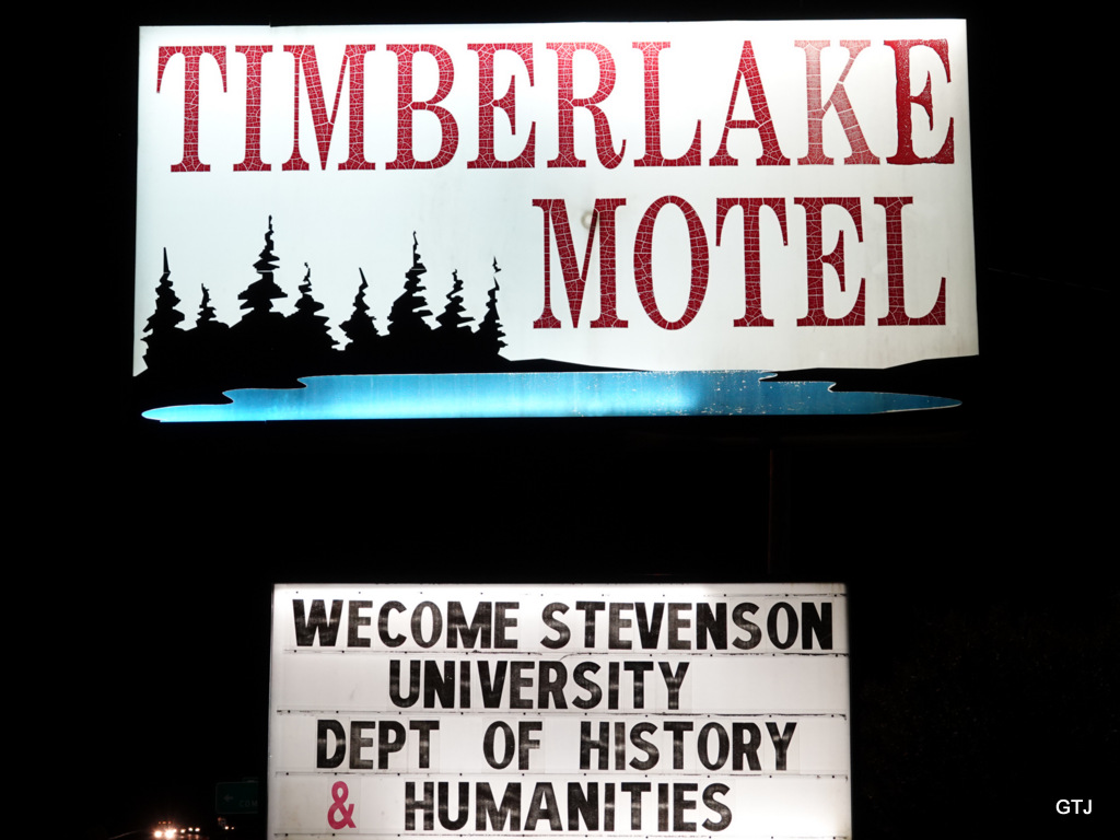 Timberlale Motel sign welcoming the Stevenson University History and Humanities Program.