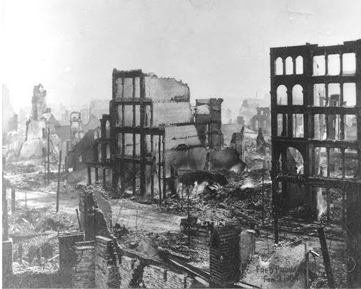 Black and White photo of Baltimore burned out as a result of the Great Fire of 1904.