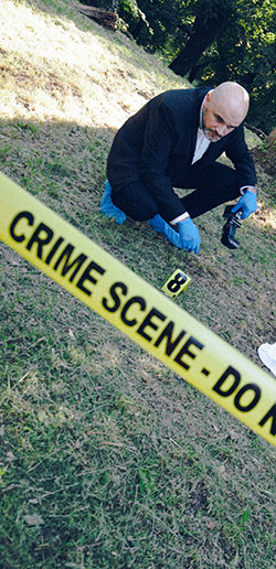 crime scene investigator working a case