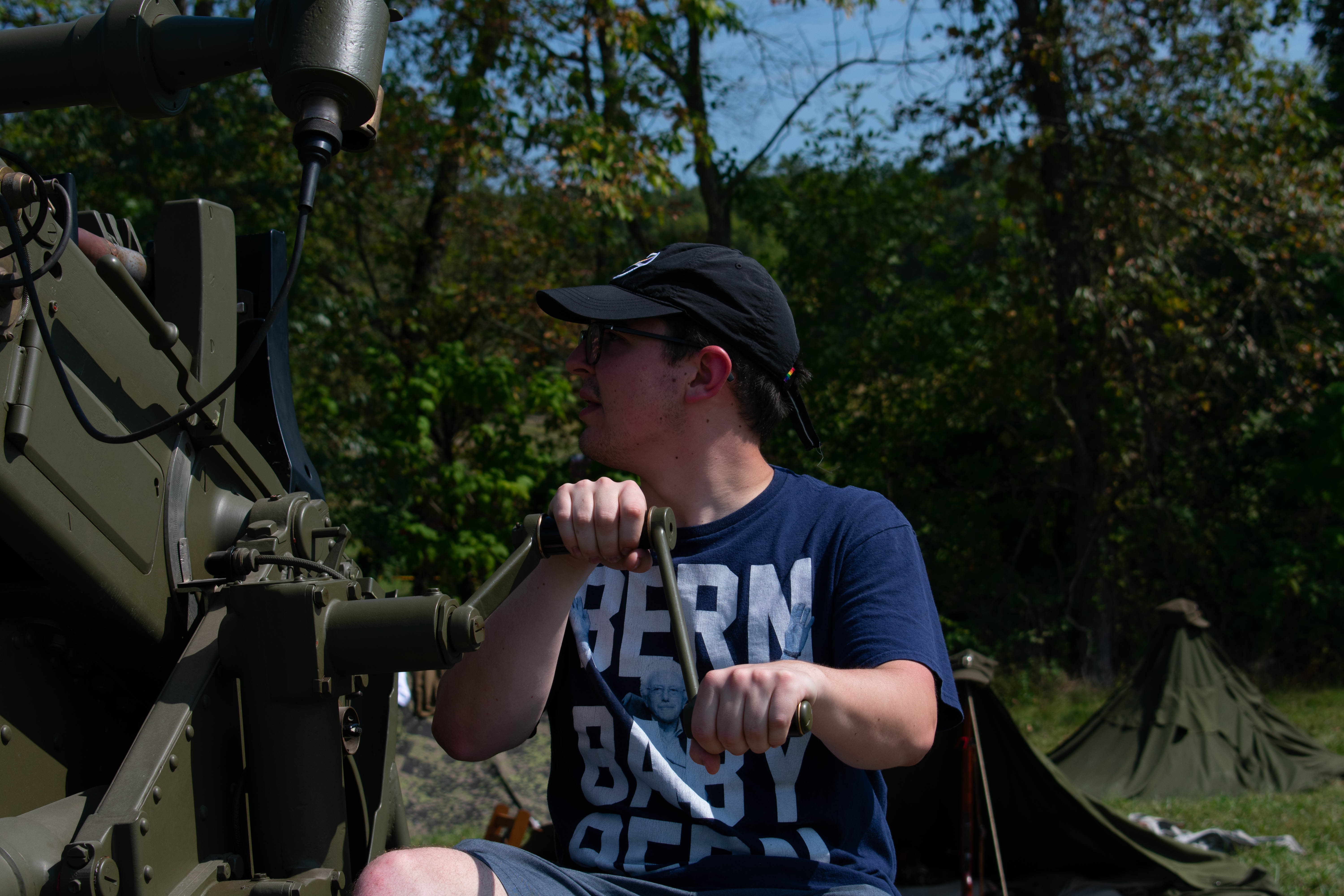 Stevenson history major Anthony Plaag learns how to operate an antiaircraft gun.