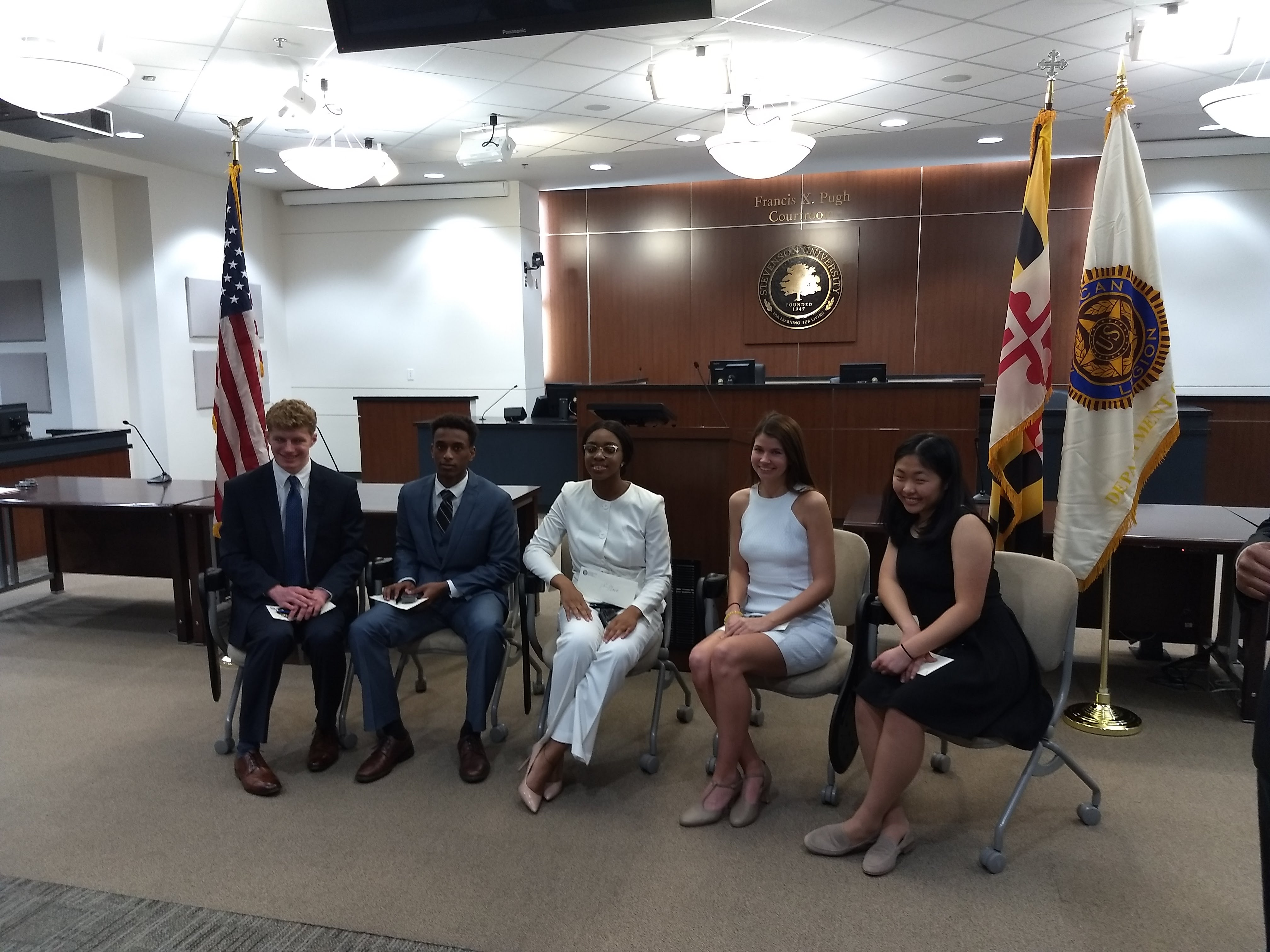Five finalists sit for photo in Maryland's statewide finals for the American Legion Annual Oratorical Contest