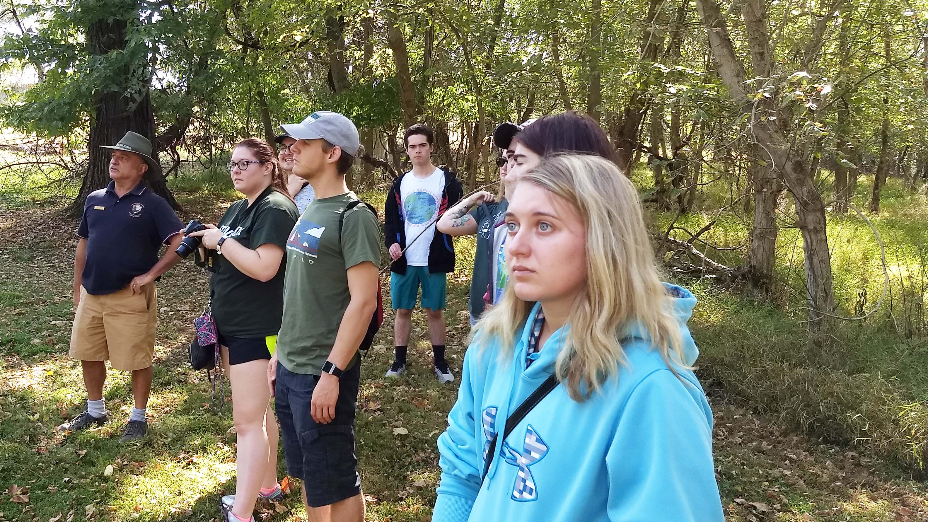 Stevenson History majors receive talk from an NPS historic preservation specialist at Monocacy Battlefield about his job.
