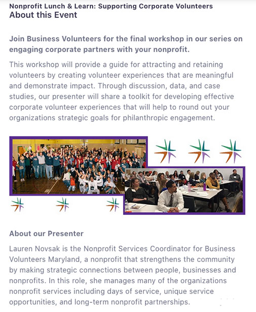 Information about Business Volunteers Maryland