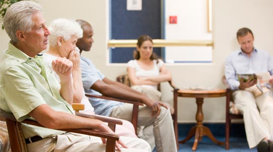 Senior patients in hospital waiting room
