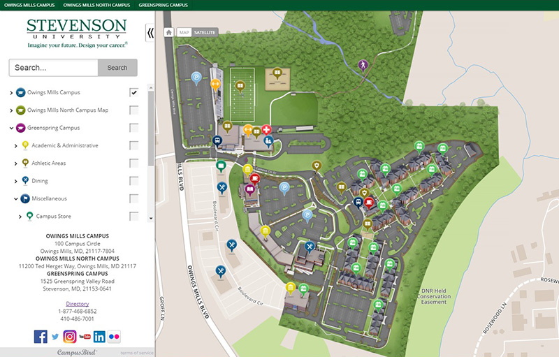 mills college campus map Stevenson University Unveils Interactive Campus Maps Stevenson mills college campus map