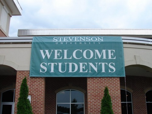 welcome sign on building