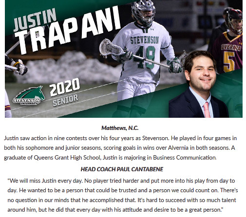 Justin Trapani honored by men's lacrosse team