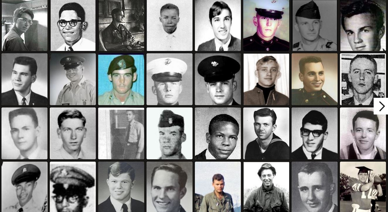 Photo collage frrpm Virtual Wall of Faces of those men and women killed during the Vietnam War.