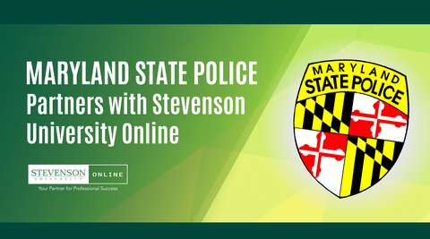 Maryland State Police Logo with text announcing partnership with Stevenson University Online