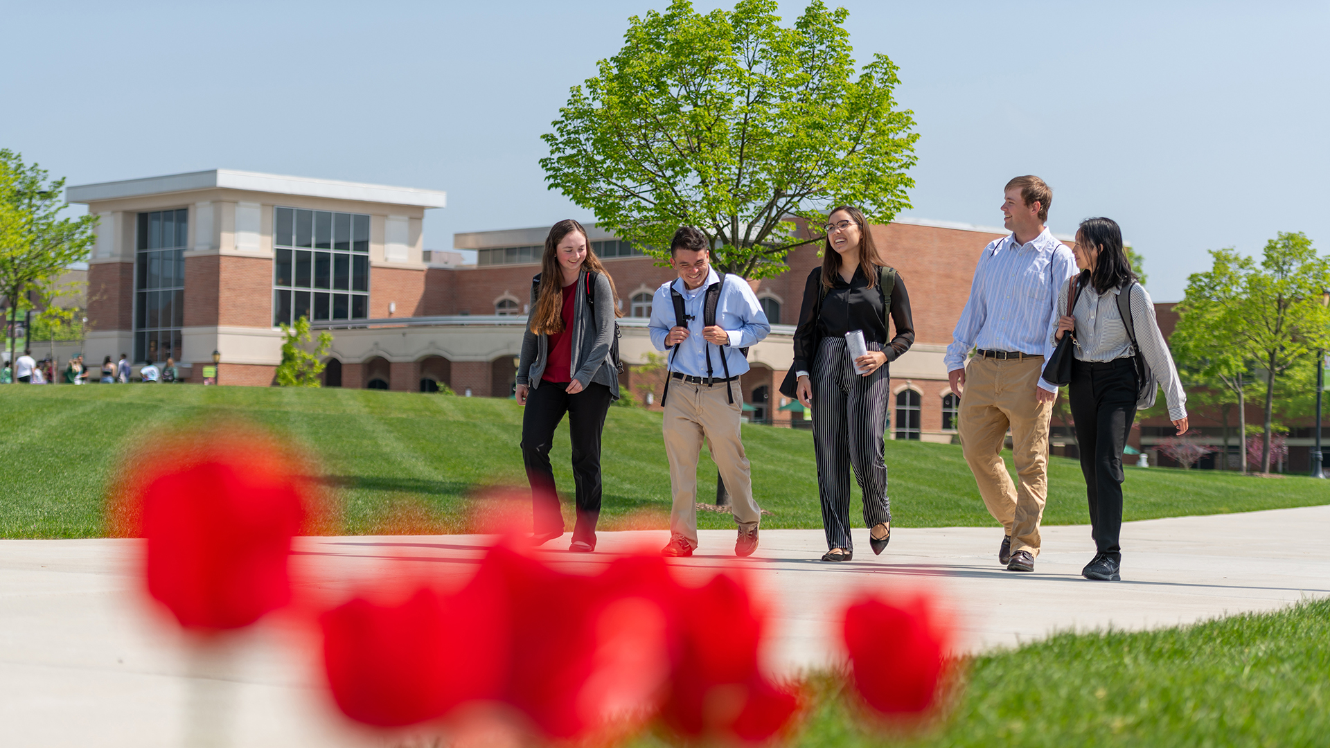 Students enjoying a walk on the quad at Stevenson University