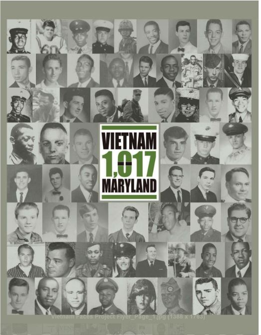 Flyer showing faces of Maryland soldiers killed in Vietnam as discovered by Stevenson researchers.