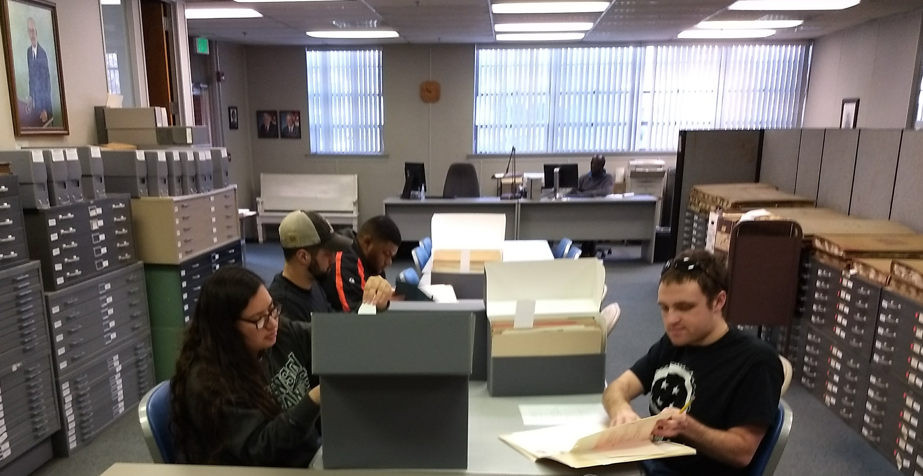Stevenson students researching at the Baltimore City Archives