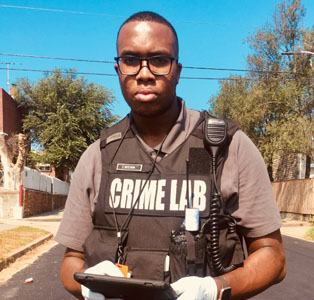 Forensic Science student in the field