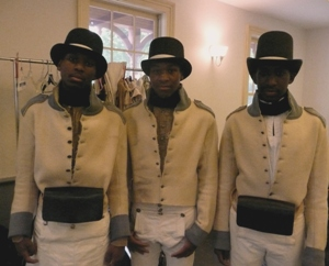Photo of three reenactors dressed as Black Colonial Marines rfrom the War of 1812.