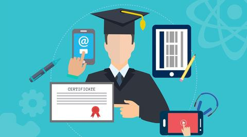 Graphic of Graduate, Certificate, Cell Phone, Tablet