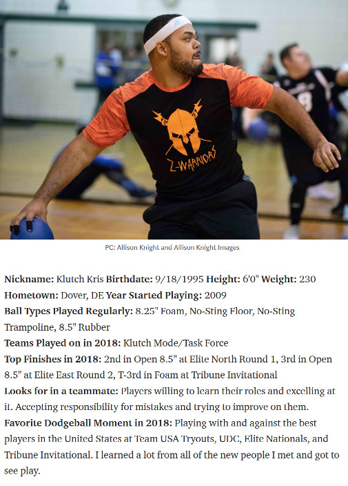 Kris Dejesus named #49-ranked dodgeball player in the USA.
