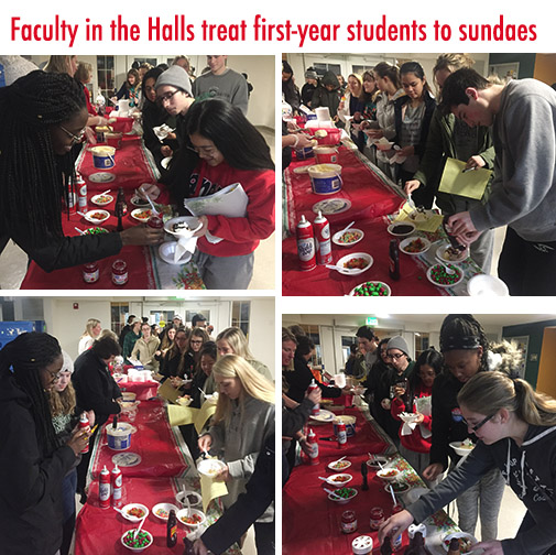 First-year students enjoy ice cream sundaes