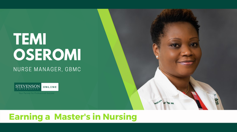 Header with photo of Temi Oseromi, Nursing student