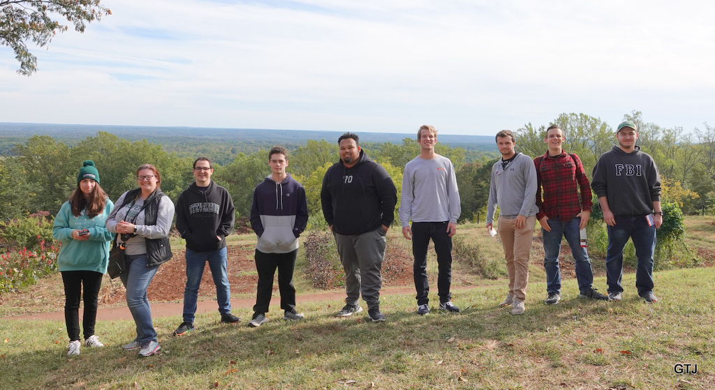 History majors at Monticello look out at vista overlooking Central Virginia.
