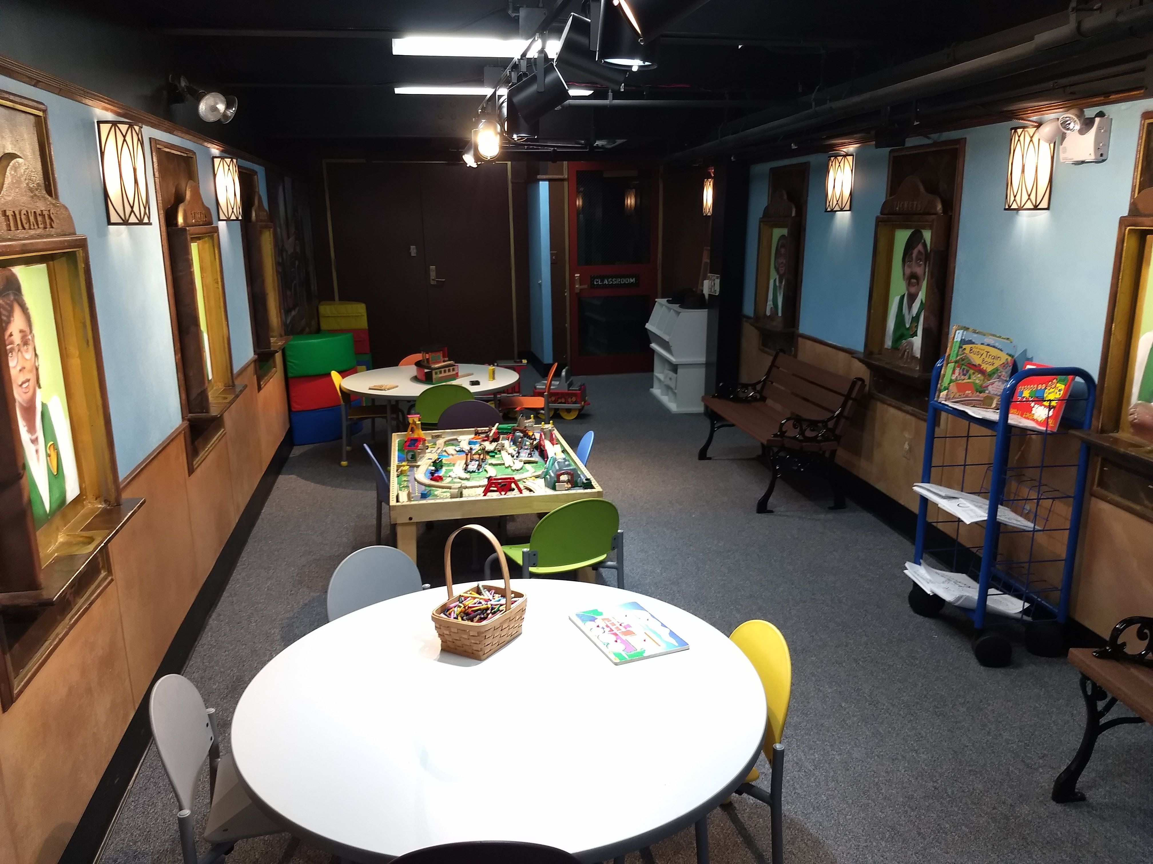 Room at Steam Town set aside for kid activities.